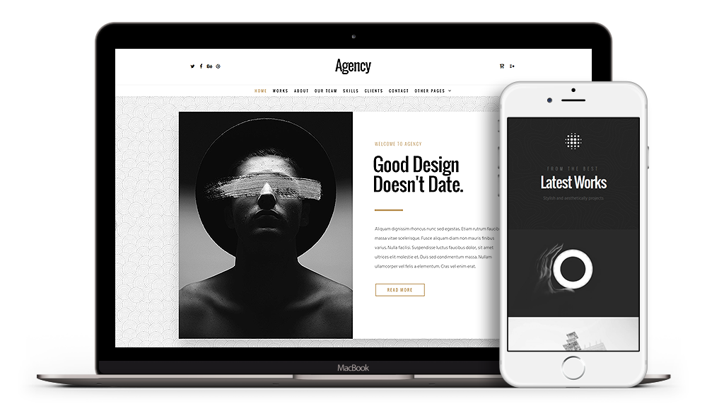 Agency WordPress Theme presented on various devices