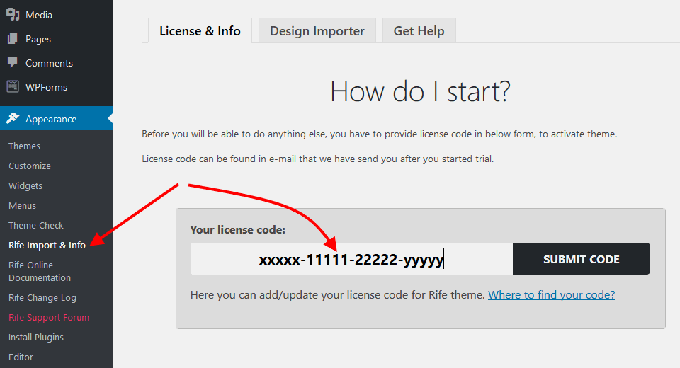 Image shows where to insert license code in theme to activate it.
