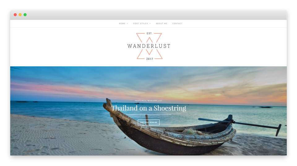 Wanderlust theme preview