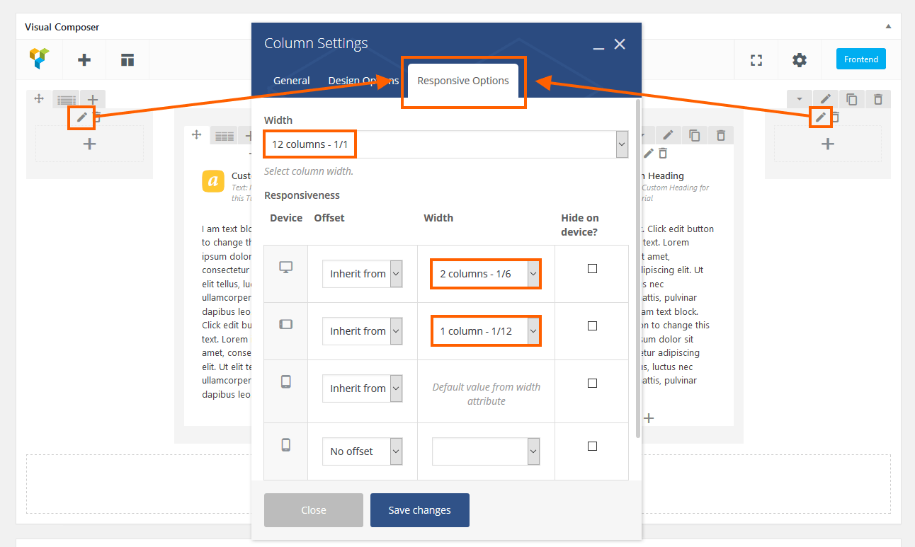 Responsive settings for column in Visual Composer