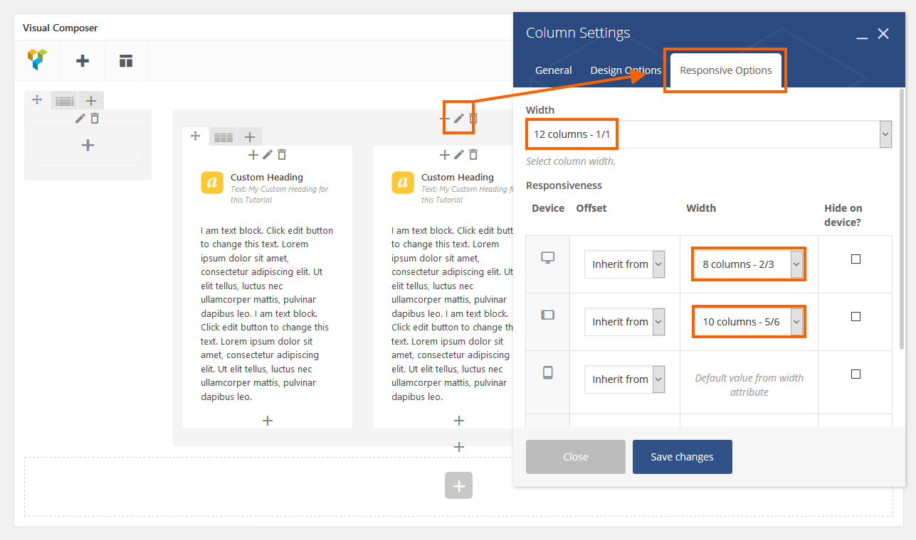 Responsive settings for main column in Visual Composer