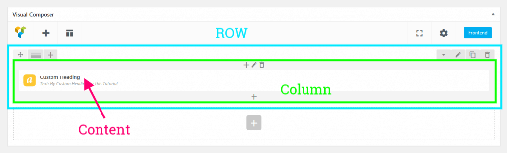 How the ROW looks in the Visual Composer.