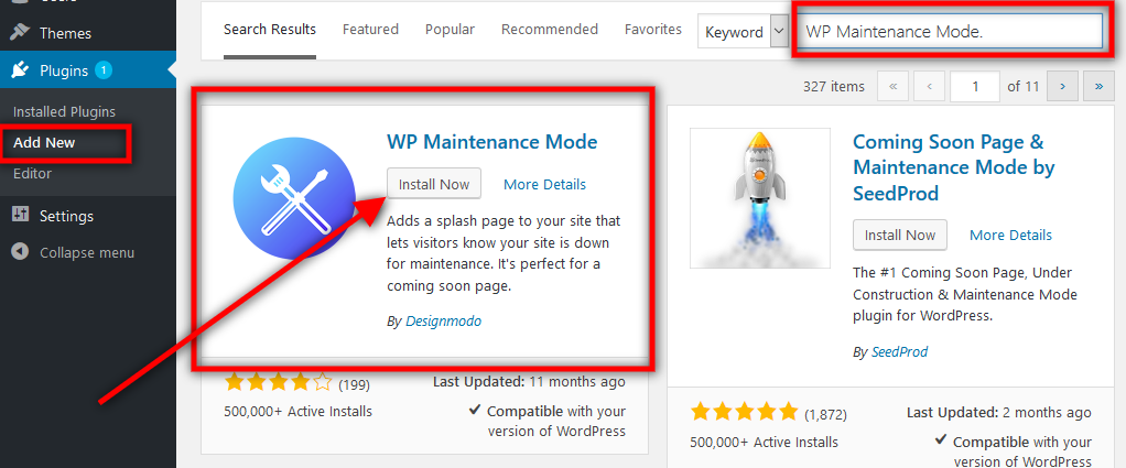 How to install WP Maintenance mode plugin