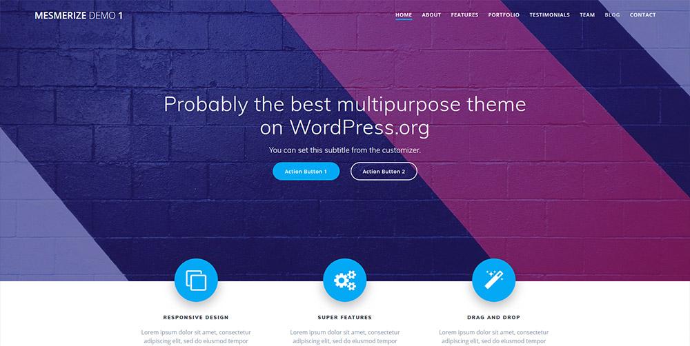 Mesmerize Free WordPress Theme - Best Free WordPress Themes