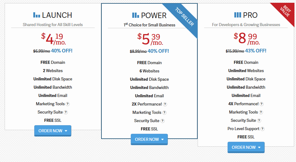 Inmotion hosting plans promo prices - 40% off