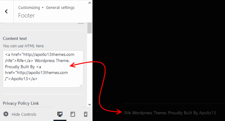 Setting Footer text in Rife Theme