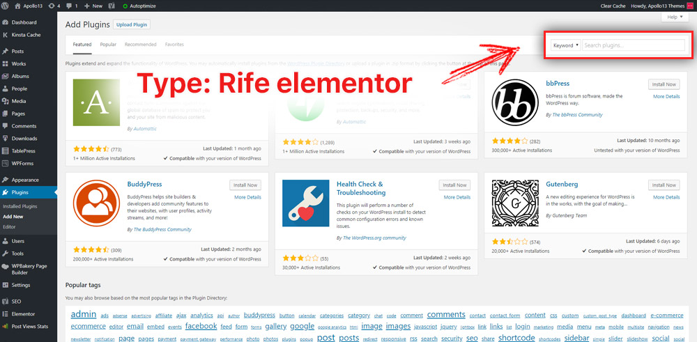 Download Free Elementor Templates plugin from the admin panel