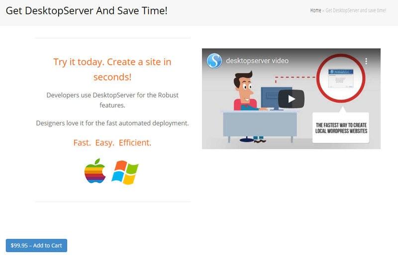 desktopserver-local WordPress development environment
